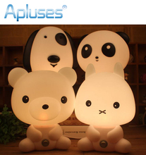 Desk Night Lights Baby Room Panda/Rabbit/Dog/Bear Cartoon Night Light Kids Bed Lamp Sleeping Night Lamp Table Lamp With Bulb(China)
