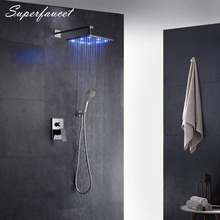 Superfaucet 8/10/12 Inch Shower Head LED Shower Faucets,Brass Chrome Finish Bathroom LED Shower Set High Pressure Tap HG-8407