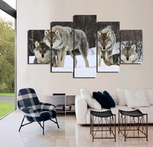 5 Panels Art HD Printed Wolf Pack Snow Animal Painting On Canvas Home Decoration Modular Wall Paintings For Living Room Unframed