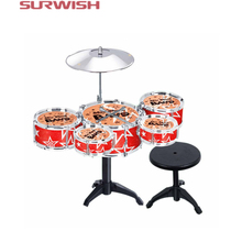 Surwish Children Toy Jazz Drum Set Early Educational Musical Instrument Toy Playset with Drum Cymbal Stand Stool Drumsticks