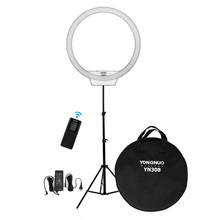 Yongnuo YN308 + 2m Stand + Power Adapter + Remote Bi-color 3200K-5500K CRI95+ Led Ring Video Selfie Fill Light Lighting Kit(China)