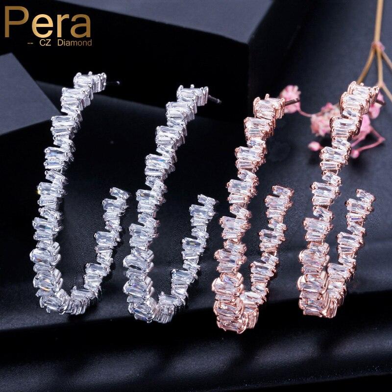 Fashion Luxury Round Drop Earrings Womens Zircon Geometric Hoop Earrings Jewelry