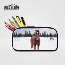 Dispalang Ladies Mini Cosmetic Bags 3D Printing Horse Pencil Cases For Boys Girls Animal Cute Zipper Pen Bag School Stationery(China)
