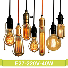 E27 Edison Bulb 220V 40W Antique Vintage Retro Incandescent Light Bulbs ST64 Decorative Lamp Carbon Filament Bulb Indoor Lampada