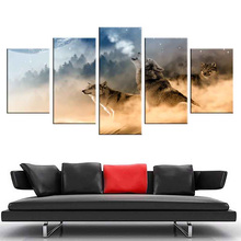 5 Panel Canva Modern Design Painting Skeletons Wolf Wall Art The Picture For Home Decoration Animal Print For Wall Decor Artwork(China)
