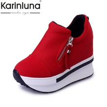KARINLUNA 2017 Fashion Women Summer High Heel Wedge Shoes Woman Increased Internal Zipper Rivet Pumps Summer Ladies Spring(China)