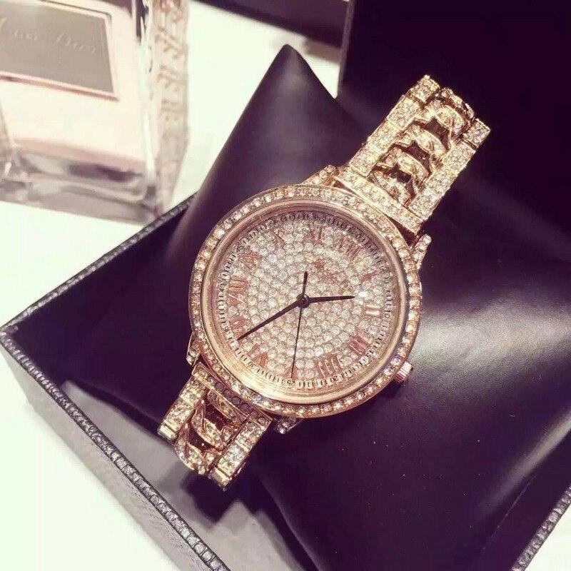 New Fashion Stainless Steel Gold &amp; Silver Band Quartz Watch Luxury Women Full Rhinestone Watches Valentine Gift reloj mujer<br>