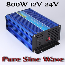 800W Off Grid Inverter DC12V or 24V, Pure Sine Wave Output Inverter with 1600W Surge Power, Solar Wind Power Inverter 800W