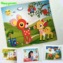 Happyxuan 4 pcs Large Size Cartoon Animal 3D EVA Foam Craft Kits Sticker Puzzle Preschool Children's Educational Toys handmade