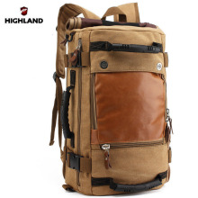 New Arrival Men Canvas Leather backpack Black Khaki Large Capacity Travel bags ME0118471