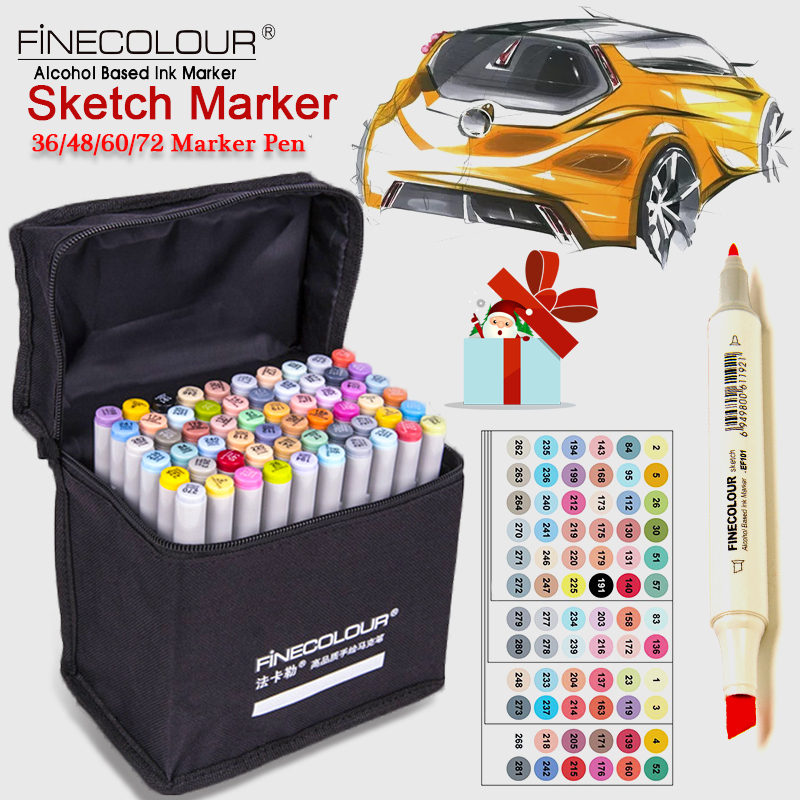 FINECOLOUR 36/48/60/72 Colors Art Marker Double Headed Sketch Marker Pen Paint Marker Set Draw Manga Comic For Design Supplies<br>
