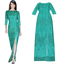 bright color cyan glitter sequin dress high quality luxury womens clothing slash neck floor length high split women dress