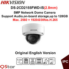 Hikvision Original English Version Surveillance Camera DS-2CD2155FWD-IS(2.8mm) 5MP Dome IP Camera H.265 IP67 Support Audio/Alarm