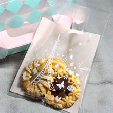 25 pcs/lot 7 X 7 +3 cm Romantic tower adhesive bag cookies diy Gift Bags for Christmas Wedding Party Candy Food Packaging bags