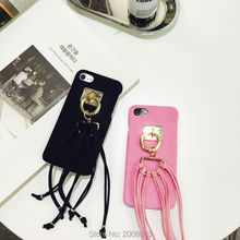 New Style Corduroy Tassel Case for iPhone 6 6S Plus 7 7plus Capas  Pendant Fashion Black Pink Red Hard Cover