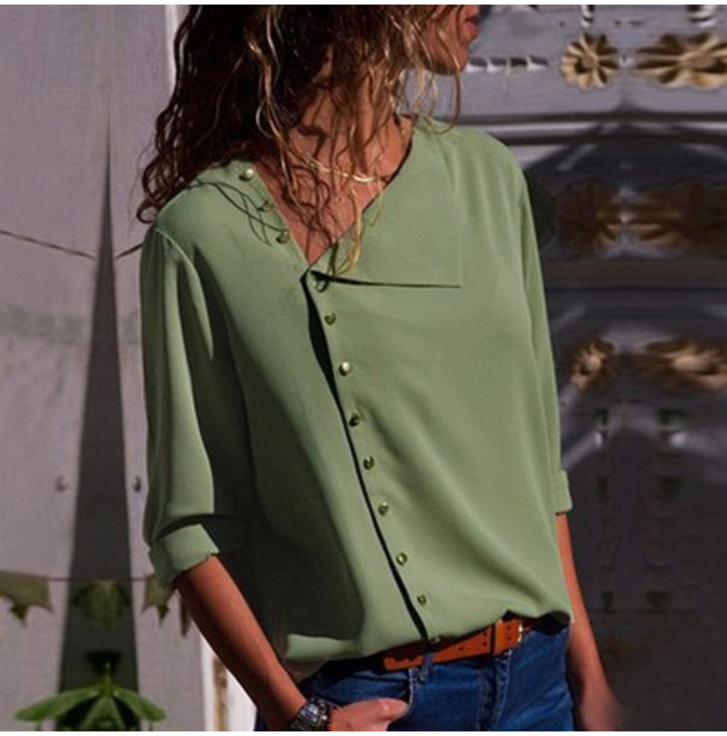 LOSSKY Fashion Long Sleeve Skew Collar Button Womens Tops And Blouses 2018 Spring Autumn Casual Streetwear Yellow Office Shirts 3