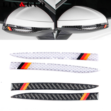 2pcs Symbol of German flag Car Anti-scratch Strip Carbon Fiber Rearview Mirror Sticker for AUDI A4L 2017 Car Styling(China)