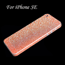Full Body Glitter Bling Sticker For iPhone SE Strass Coque Luxury Shining Skin Cover Case For Apple iPhoneSE Funda Capinha(China)