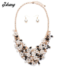 Statement 2016 Fashion Women Necklace Pendant Collier Femme Flower Pearl Jewellery Sets Choker Bib Female Maxi Collar Earring
