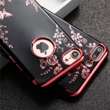 Luxury Plating Soft TPU Case For iphone 7 6 6s Plus Silicone Fundas Fashion Flower Floral Butterfly Back Cover Lady Phone Cases