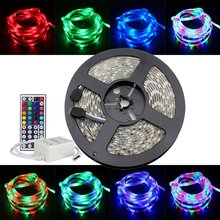 DIY SET 3528 RGB LED strip 12V 5M 3528 60LED/M +44key IR led remote controller+12V 2A 24W power adapter led stripe rgb