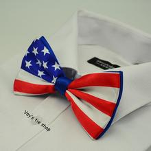 2014 New Novelty jacquard Mens Suit Fashion Print USA American Flag Big Bowtie Red White Stars-and-Stripes Bow Tie Free shipping