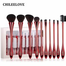CHILEELOVE 10 Pcs Plating Matte Light Goblet Shape Professional Women Makeup Brush Sets Base Makeover Blush Eyebrow Eyelash Comb