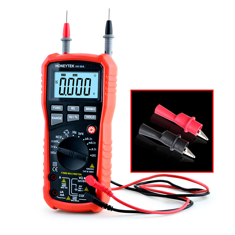 NCV Contactless True-RMS Digital Multimeter 4000 counts Back light Capacitor resistance Frequency Diode Temperature Multimeter<br>