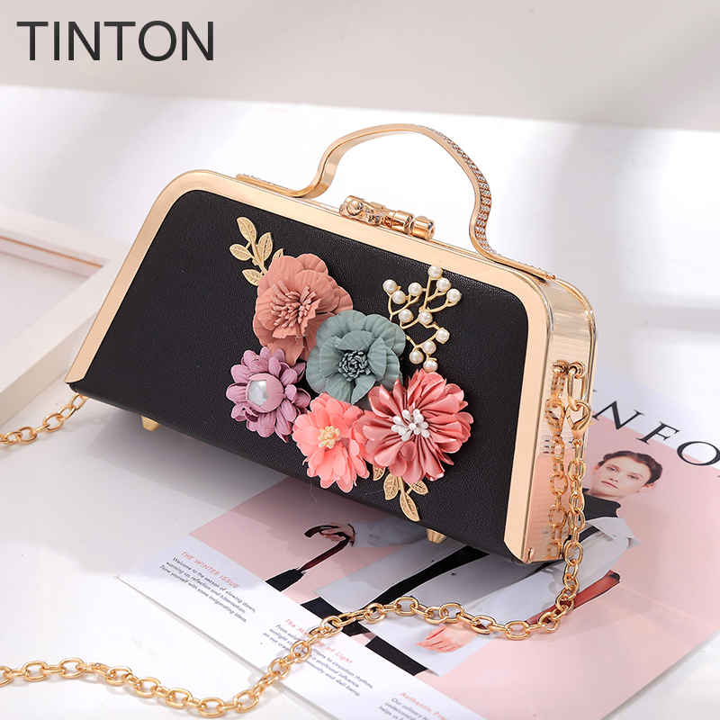 2018 new fashion pu leather women evening bag party banquet flower bag for female girls wedding clutches chain shoulder bag gift<br>