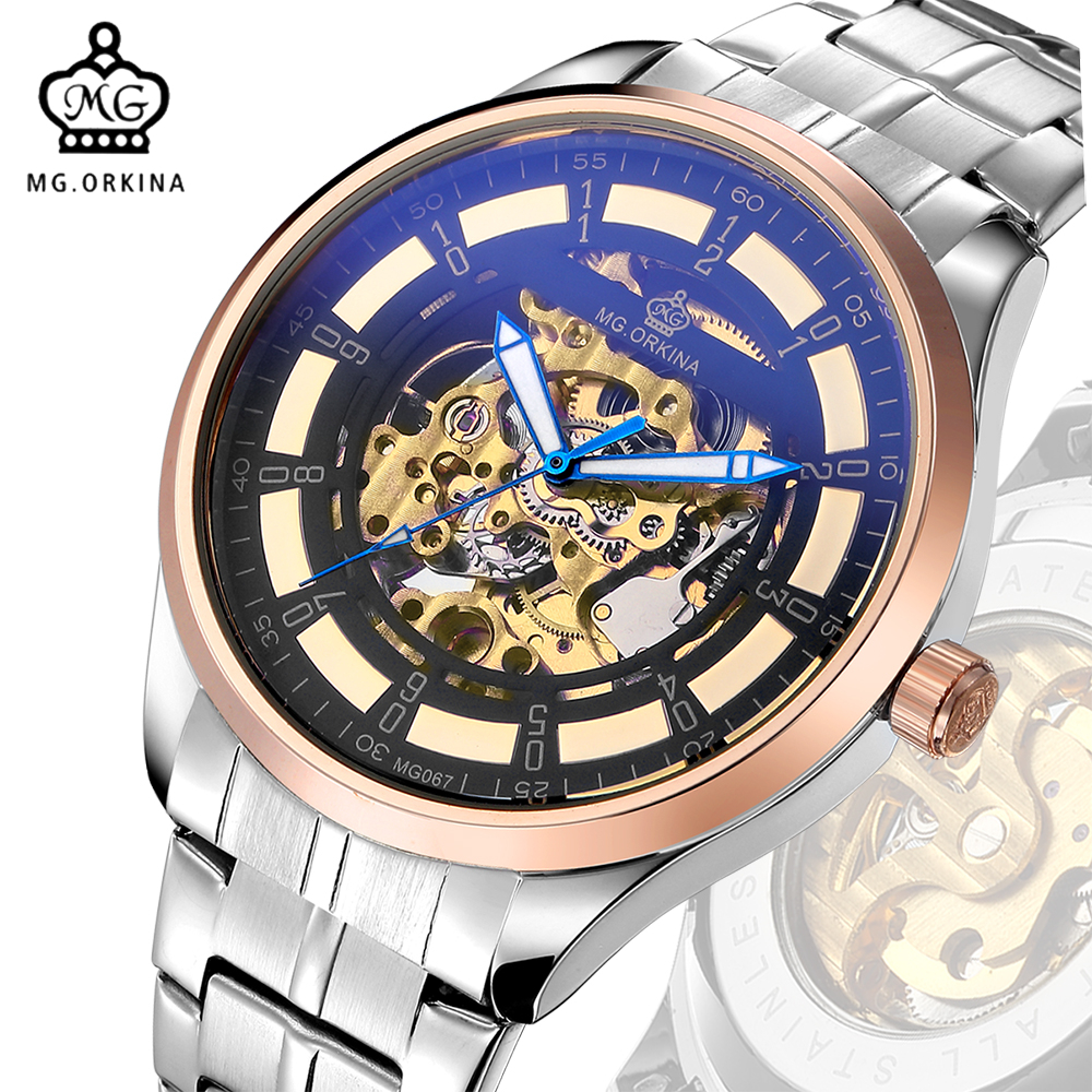 MG. ORKINA Reloj Hombre Mens Watches Top Brand Luxury Full Stainless Steel Wristwatch Auto Mechanical Male Clock Rose Gold Watch<br>