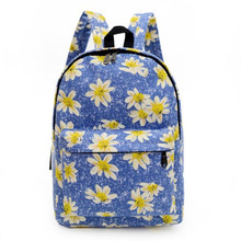 Hot On Sale Women Backpack Canvas Blue Flower Printing School Backpacks Shoulder Bags Luxury 2 Color Cute Style Mochila Blosa
