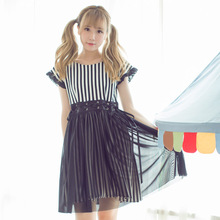 Dolly Delly Japanese Harajuku Striped Short Dress Girl's Two-piece Dress with Chiffon Overlay(China)