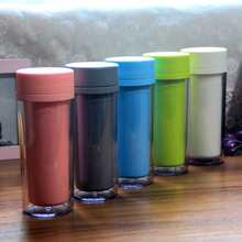 Double Plastic Travel coffee zakka Gift birthday love photo lids Sports tea cup 300ml Free shipping