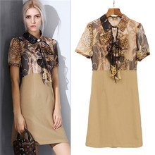 British style turndown collar bow leopard pattern patchwork khaki dress for mature lady 2017 new arrival summer dresses XL brand(China)