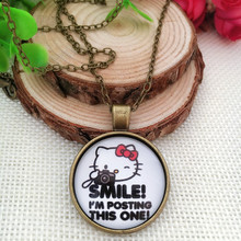 Fashion European Vintage Style Smile Hello Kitty  Long Chain  Retro   Art Photo Pendant  LY838