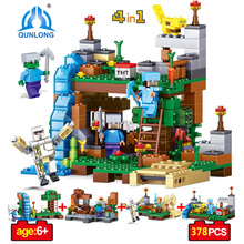 Qunlong Toy Minecrafted Figures Building Blocks 4 in 1 DIY Garden Bricks Toy Gift For Kid Compatible With Legoe Minecraft City(China)
