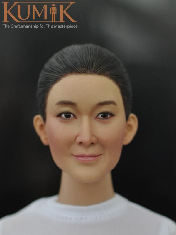 Kumik Korean Handmade New 1/6 Female Head Carving KM16-48 Plastic Hair Asian Female Head Carving Fit 12 Doll Collectible Toys<br>