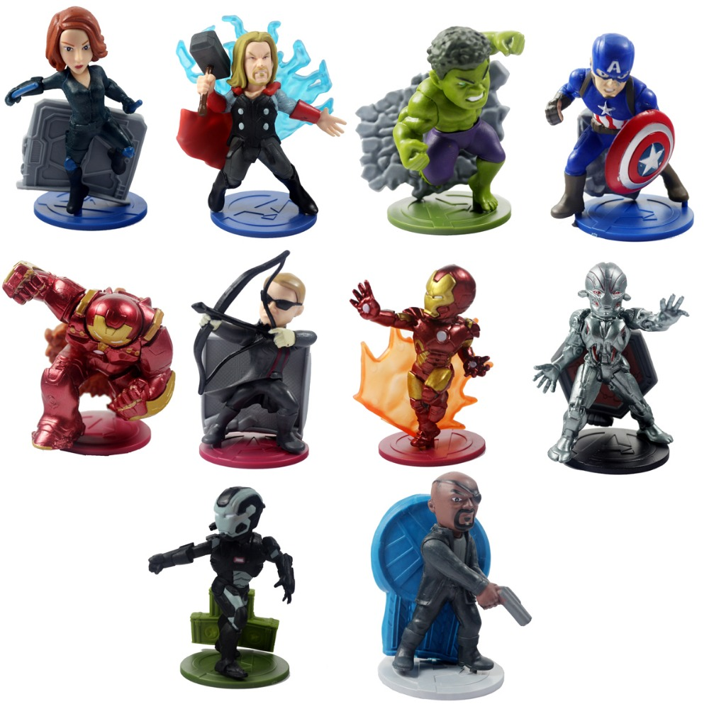 10pcs Figures Marvel Avengers Age of Ultron Captain America/Thor/Iron Man/Hilk Set Toys Super Heroes Collectible Model DC008033<br>