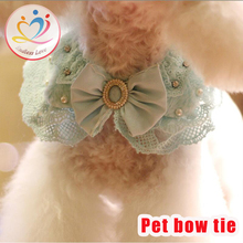 2016 New arrival korean style Jewelry Cat dog Collars puppy Bow Tie Vestidos classy Necktie Lace Necklace Costume Free shipping