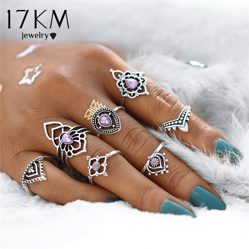 17KM Vintage Tibetan Flower Ring Sets Crystal Knuckle Midi Rings Women Retro Boho Beach Anillos Punk Jewelry Party 7PCS/set