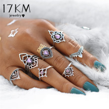 Buy 17KM Vintage Tibetan Flower Ring Sets Crystal Knuckle Midi Rings Women Retro Boho Beach Anillos Punk Jewelry Party 7PCS/set for $1.57 in AliExpress store