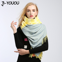 scarves women high fashion poncho winter scarf plaid pashmina ladies scarves designer silk poncho and capes wool crinkle hijab(China)