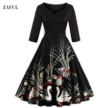 Zaful New S- 4XL Trendy Plus Size Vintage Women Dress Summer Autumn Elegant Big Swing Dresses With Belt Tunic Vestidos