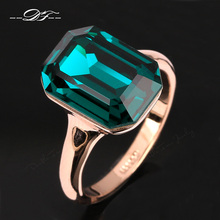 Green Big Crystal Elegant Finger Ring Wholesale Rose Gold Color Fashion Brand Red Crystal Jewelry For Women anel DFR276