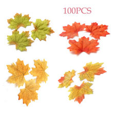 100Pcs Artidicial Cloth Maple Leaves Multicolor Autumn Fall Leaf Art Scrapbooking Wedding Bedroom Wall Party Decor Craft 5N2004(China)
