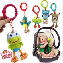 American Quality Baby Toys Colorful Cute animal pendant for Stroller and Crib Black dog Green frog owl dolls(China)
