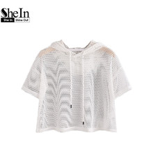 SheIn Crop Tops Women 2017 T shirt Women Drop Shoulder Crop Fishnet Hooded T-shirt White Short Sleeve Sexy Tops