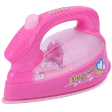 Mini Electric Iron Pretend Play Toy Light-up Baby Girl Housekeeping Educational Furniture Toys Gift Pink