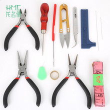13Pcs/set Jewelry Tool Set Beading Needle Ruler Scissors Tweezer Crimper Pliers Tool For DIY Jewelry Making Tools & Equipment