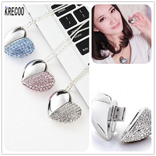 KRECOO Memory Stick For Gifts USB Flash Drives 4G 16G 64GB Metal & Crystal PenDrive Heart Jewelry Accessories (Including Chain)(China)